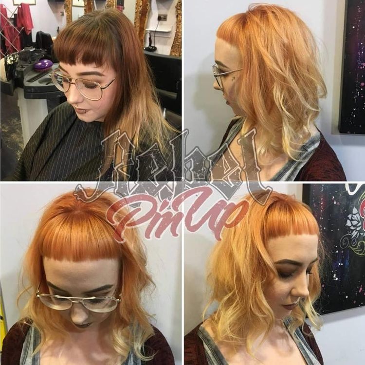 Peach Restyle - with a short blunt fringe and all- round undercut