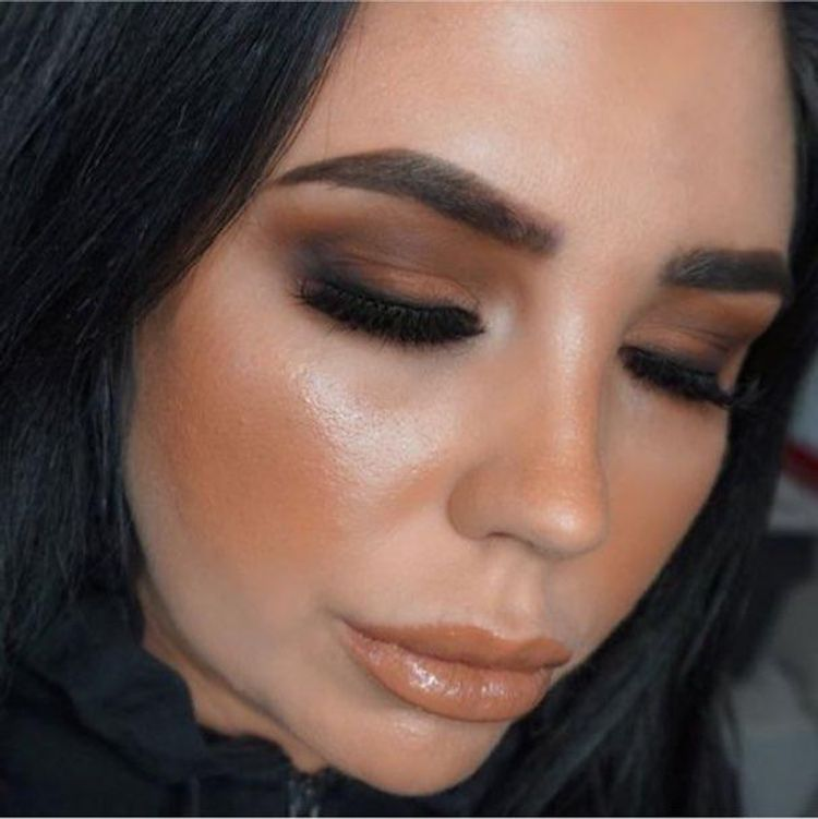 Full face of makeup including lashes